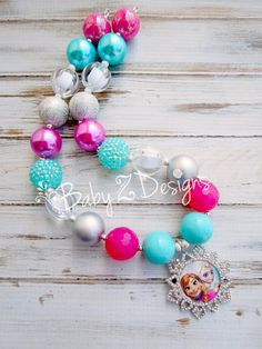 Elsa and Anna Chunky Necklace in Silver White Pink by babyzdesigns