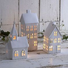 Little houses and church Christmas tealight holders Noel Christmas, Winter Christmas, Christmas Crafts, Christmas Ornaments, Xmas, Clay Houses, Ceramic Houses, Paper Houses, Miniature Houses