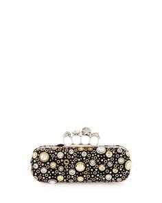e4a9f14d80b Alexander McQueen Knuckle Long Box Crystal Clutch Bag, Black Alexander  Mcqueen Handbags, Suede Handbags