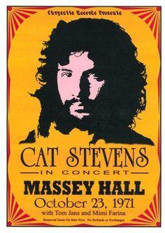 Vintage, retro, hippie, classic rock concert poster - Cat Stevens♥♥♫♫♥♥♫♥J Pin Ups Vintage, Vintage Rock, Vintage Cat, Cat Stevens, Pop Posters, Band Posters, Event Posters, Vintage Concert Posters, Vintage Posters