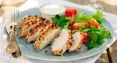 Chicken with Curried Yogurt Crust Recipe Almond Chicken, Peanut Chicken, Pretzel Chicken, Crockpot Recipes, Soup Recipes, Snack Recipes, Fried Chicken Recipes, Baked Chicken, Turkey Cutlets