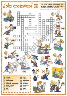 Jobs crossword of - ESL worksheet by mpotb Improve English, Learn English, English Lessons, English Class, English Grammar, Verbs List, English Exercises, Teachers Aide, Crossword Puzzles
