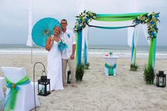 #Blue & green #Beach Wedding... Wedding ideas for brides, grooms, parents & planners ... https://itunes.apple.com/us/app/the-gold-wedding-planner/id498112599?ls=1=8 … plus how to organise an entire wedding, without overspending ♥ The Gold Wedding Planner iPhone App ♥