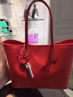 5888e04661da Authentic Dior Panarea Rosato Canvas Cannage Tote Bag Red