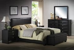 5 pc Ireland V Collection Queen bed set with black leather like vinyl panel headboard and black wood finish