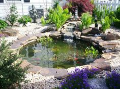 Pretty And Small Backyard Fish Pond Ideas At Decor Landscape Garden Pond Design… Small Fish Pond, Small Ponds, Fish Pond Gardens, Small Gardens, Garden Ponds, Water Gardens, Backyard Ponds, Zen Gardens, Outdoor Fish Ponds