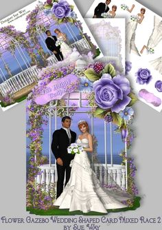 A luxurious shaped card with a beautiful white bride, with her black groom, in an off white wedding gown, with a flowing veil. She is holding a bouquet of pale lavender roses and is surrounded by mauve roses & flowers over a gazebo. A really quick & easy card to make, but so effective. Just cut out, fold & add layers & your own imagination!     Mini Kit includes 3 design sheets. The first has the shaped card, the second has decoupage layers & 3 sentiment tags & have a...