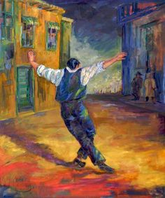 It is difficult to dance the zeibekiko, mainly because it has no set steps, no particular rhythm. It requires an inner intensity, because it is an improvised dance that expresses the feelings of the … Greek Blue, Greek Art, Greek Dancing, Greece Painting, Dancing Drawings, Dance Paintings, Greek Culture, Greek Music, Folk Dance