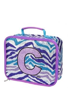 Glitzy Zebra Initial Lunch Tote will go with whole set