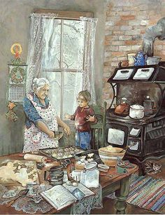 All the little details. It makes me think of being a kid at my grandma's house baking Christmas cookies. My grandma was always cooking or baking. I miss those wonderful days. God bless all the grandma's off the world. Art And Illustration, Illustrations, Christmas Scenes, Christmas Art, Vintage Christmas, Christmas Cookies, Arte Country, Norman Rockwell, Kitchen Art
