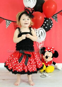 Minnie Mouse Black and Red Polka Dot Pettiskirt