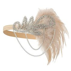 Buy Zivyes Gatsby Flapper Feather Headband accessories Crystal Beaded Wedding Headpiece at Discounted Prices ✓ FREE DELIVERY possible on eligible purchases. Flapper Headpiece, Vintage Headpiece, Flapper Headband, Pearl Headband, Headdress, Crystal Headband, Estilo Charleston, Flapper Accessories, Hair Accessories