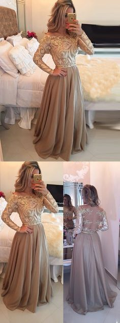A-Line Evening Dress,Cowl Floor Length Evening Prom Dresses, Gold Prom/Evening Dress with Long Sleeves