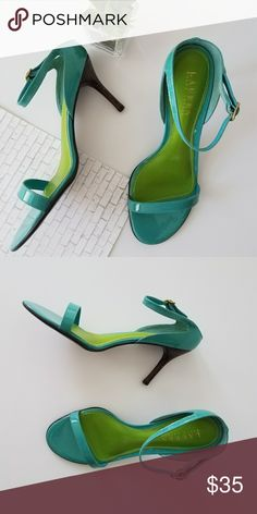 "Ralph Lauren Sandals Patent leather. NWOT. 3"" stacked heel. Turquoise color. Ralph Lauren Shoes Sandals"