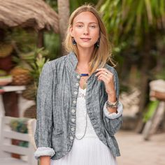"LINEN DREE JACKET -- Our washed double cloth linen and cotton jacket, by CP Shades conveys a certain thoughtfulness, a beauty that lies in simple lines, honest construction and an eye for details. Machine wash. USA. Exclusive. Sizes XS (2), S (4 to 6), M (8 to 10), L (12 to 14), XL (16). Approx. 26""L."