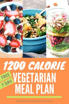 A simple, free 1200 Calorie Vegetarian Meal Plan optimized for rapid weight loss! If you're a vegetarian trying to lose weight this is the perfect starting point, complete with recipes, a shopping list, and pre-calculated macros Vegan Meal Plans, Vegan Meal Prep, Diet Meal Plans, Keto Meal, Meal Plans To Lose Weight, How To Lose Weight Fast, Macro Meal Plan, 1200 Calorie Meal Plan, Healthy Foods To Eat