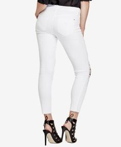 Guess Ripped Optic White Wash Skinny Jeans in White | Lyst