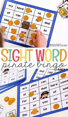 Sight word pirate bingo is a great hands-on learning activity. Help your students to enjoy learning about sight words with this game. Pirate bingo is the perfect sight word activity for your kindergarten classroom! Grab the free printable and get your students started learning today! #sightwordbingo #games #learnwithplay #playfullearning #sightwordgames #sightwordactivities #kindergartenactivities