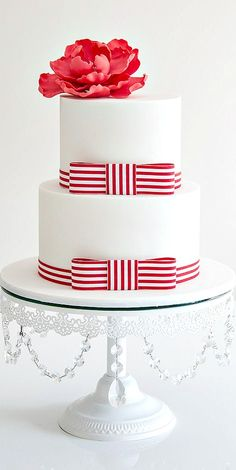 Red & White Striped Ribbon Two-Tiered Cake