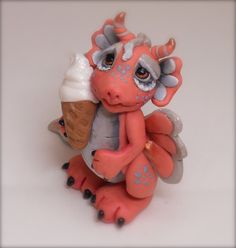 "Adorable polymer clay baby dragon ""Peaches"" is ice dreamy by WOODLANDCRITTERS on Etsy"