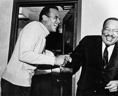 "Dr. Martin Luther King Jr. and Harry Belafonte share a good laugh together. Dr. King was born 85 years ago today in Atlanta, Georgia. This photo was released by Alfred A. Knopf in 2012 upon the publication of Mr. Belafonte's memoir, ""My Song."" Mr. Belafonte always put his money where his mouth was when it came to the civil rights movement. Among numerous financial commitments he made to the movement, he raised $50,000 in bail money to get Dr. King out of jail in Birmingham, Alabama."