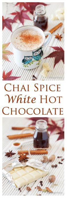 Chai Spiced White Hot Chocolate is a sweet yet delicate blend of frothy milk, white chocolate and Indian spices.