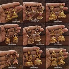 Check out beautiful gold plated silver jhumkas and earrings collection from this brand and get ready to shop. Silver Jhumkas, Gold Jhumka Earrings, Indian Jewelry Earrings, Jewelry Design Earrings, Gold Earrings Designs, Gold Jewellery Design, Antique Earrings, Necklace Designs, Jewellery Box