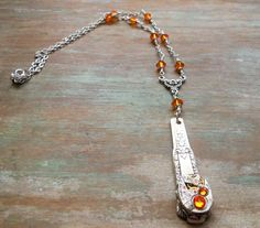 Handmade Silverware Necklace, Victorian Spoon Handle, Orange Swarovski Sun Rhinestone Jewelry, Rose Patterned Silverware Pendant by BackAlleyDesignsINK on Etsy