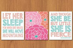 Let Her Sleep For When She Wakes And Though She Be But Little She Is Fierce Flower Bloom Set of 3 Teal Coral Nursery Decor