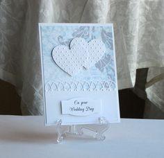 Wedding card with double hearts - handmade greeting card. $4.50, via Etsy.