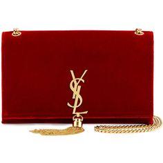 Saint Laurent Kate Monogram Medium Velvet Tassel Satchel Bag (£1,615) ❤ liked on Polyvore featuring bags, handbags, red, tassel handbags, red satchel, flap handbags, flap purse and yves saint laurent