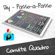 Vem aprender a fazer no celular um lindo Convite Quadro Chalkboard para a festa do seu filho(a) usando o aplicativo PicsArt, com moldes para você baixar