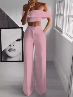 Sexy Bare Back Sloping Shoulder Sleeveless Pure Colour Suit : Fashion Items For Spring! You should copy these styles fashion lovers! Long Overalls, Overalls Women, Wide Leg Cropped Pants, Loose Pants, Cropped Top, Fashion Pants, Fashion Outfits, Looks Instagram, Suit Pattern