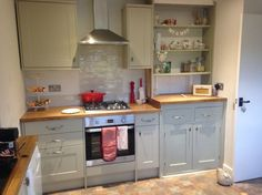 Country kitchen red and green (burford grey) Red Kitchen, Country Kitchen, Kitchen Ideas, Kitchen Decor, Howdens Kitchens, Home Kitchens, Tiny Kitchens, Green And Grey, Shabby Chic