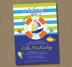 Nautical Baby Shower Invitation Boy
