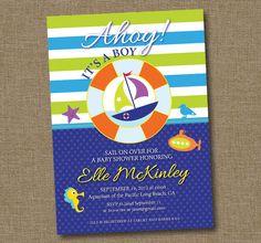 Nautical Baby Shower Invitation Boy