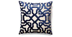Velvet appliqué details form a bold, graphic print on this chic cushion, adding a fresh new take on any space. A feather-and-down insert ensures long-lasting loftiness. Zip closure. Solid back....