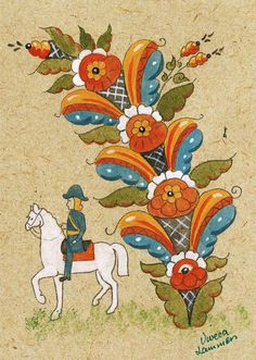 Swedish Kurbits Card - Viveca Lammers.These Kurbits patterns were developed in the area around Leksand in Dalarna in                                                                        Sweden around 1800 and they have become symbolic for Sweden, together with the brightly painted Dala Horse, also from Dalarna. The old times´ peasant painters often made illustrations to biblical scenes. The Kurbits Tree is the tree that was mentioned in the Bible…
