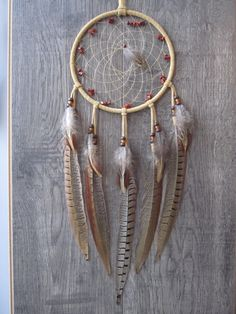 Dream Catcher Buckskin Suede Lacing with Ringneck Pheasant Feathers ~ Cruelty Free by FeathersandSinew on Etsy