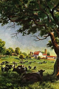 Cattle Farm Painting Print on Wrapped Canvas