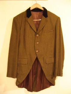 09012186 Coat, 19th C, Cutaway brown green houndstooth, C39.JPG