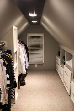 these homeowners created a fabulous walk-in closet from a previously unusable attic space, adding custom shelving and drawers, electricity, ...