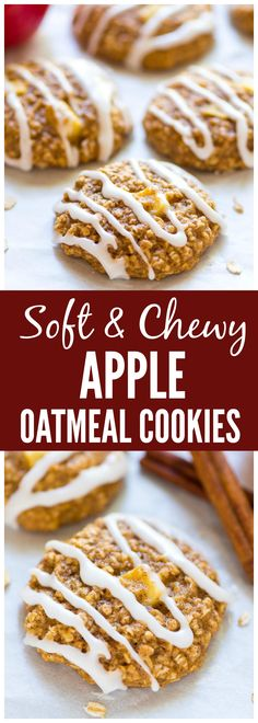 Thick, soft, and chewy Apple Oatmeal Cookies. Healthy and perfect for snacks and desserts.