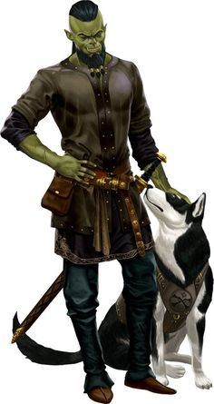 Half orc character - Fighter With Sword And Pet Dog