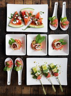 Fast Festive Watermelon Hors D'oeuvres - add some light and bright to your holiday table! #EatMoreWatermelon #ad