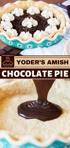 Hit the right notes with this amish chocolate pie recipe! Take your chocolate pick - semisweet, cocoa powder, or dark - pile up that whipped cream and finish with chocolate shavings. Easy dessert to impress? Definitely! Best Dessert Recipes, Sweets Recipes, Sweet Desserts, Easy Desserts, Baking Recipes, Chocolate Pie Recipes, Best Chocolate, Chocolate Desserts, Easy Impressive Dessert