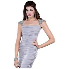 Pre-owned Jovani Auth New Short For New Year's Eve - 171351 Size 12... ($182) ❤ liked on Polyvore featuring dresses, grey, preowned dresses, grey prom dresses, gray dress, short prom dresses and jovani dresses