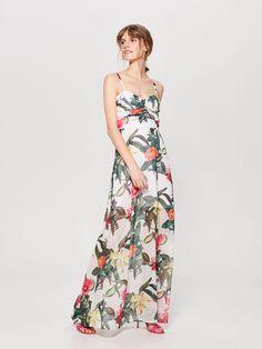 Długa sukienka na ramiączkach - wielobarwny - 1