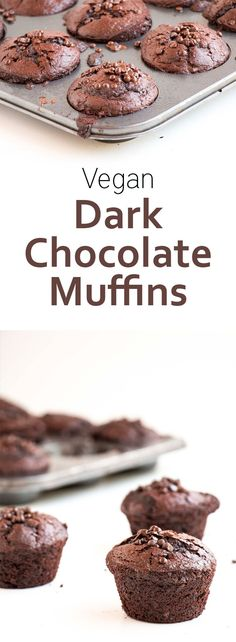 Vegan Dark Chocolate Muffins. Deliciously chocolatey, made with coconut oil, coconut sugar and flax eggs.