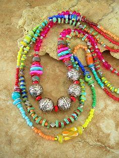 Boho Fashion Necklace, Colorful Beaded Necklace, Long Layered Free Style Necklace, Vibrant Boho Gypsy Colors, Bohemian Jewelry